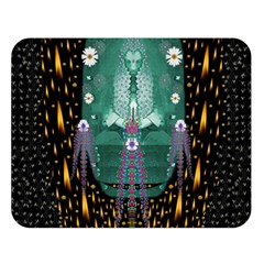 Temple Of Yoga In Light Peace And Human Namaste Style Double Sided Flano Blanket (large)