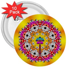 Fantasy Flower In Tones 3  Buttons (10 Pack)