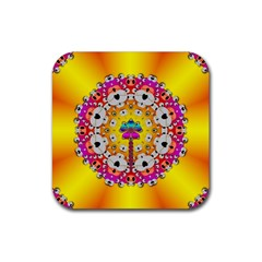 Fantasy Flower In Tones Rubber Square Coaster (4 Pack)