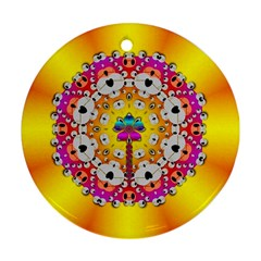 Fantasy Flower In Tones Round Ornament (two Sides)