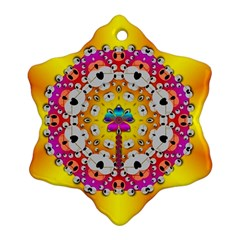 Fantasy Flower In Tones Snowflake Ornament (two Sides)