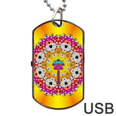 Fantasy Flower In Tones Dog Tag Usb Flash (one Side)