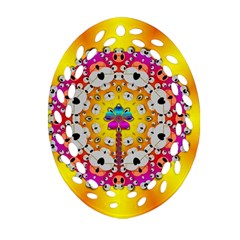 Fantasy Flower In Tones Oval Filigree Ornament (two Sides)