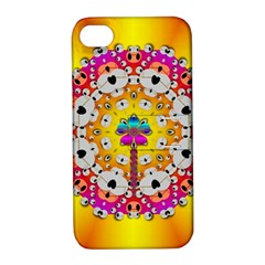 Fantasy Flower In Tones Apple Iphone 4/4s Hardshell Case With Stand