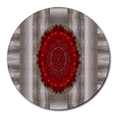 Strawberry  With Waffles And Fantasy Flowers In Harmony Round Mousepads