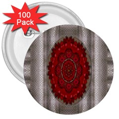 Strawberry  With Waffles And Fantasy Flowers In Harmony 3  Buttons (100 Pack)