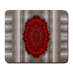 Strawberry  With Waffles And Fantasy Flowers In Harmony Large Mousepads