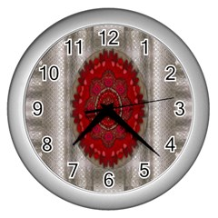 Strawberry  With Waffles And Fantasy Flowers In Harmony Wall Clocks (silver)