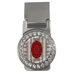 Strawberry  With Waffles And Fantasy Flowers In Harmony Money Clips (cz)