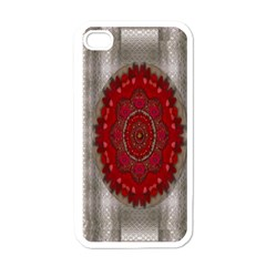 Strawberry  With Waffles And Fantasy Flowers In Harmony Apple Iphone 4 Case (white)