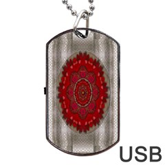 Strawberry  With Waffles And Fantasy Flowers In Harmony Dog Tag Usb Flash (two Sides)