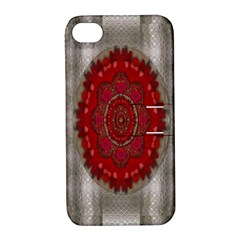 Strawberry  With Waffles And Fantasy Flowers In Harmony Apple Iphone 4/4s Hardshell Case With Stand