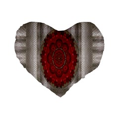 Strawberry  With Waffles And Fantasy Flowers In Harmony Standard 16  Premium Flano Heart Shape Cushions