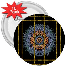 Blue Bloom Golden And Metal 3  Buttons (10 Pack)