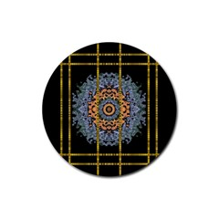 Blue Bloom Golden And Metal Rubber Round Coaster (4 Pack)