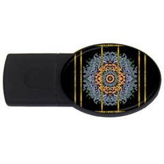 Blue Bloom Golden And Metal Usb Flash Drive Oval (4 Gb)