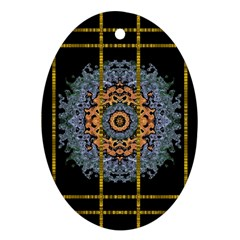 Blue Bloom Golden And Metal Oval Ornament (two Sides)