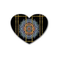 Blue Bloom Golden And Metal Heart Coaster (4 Pack)