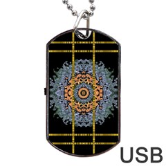 Blue Bloom Golden And Metal Dog Tag Usb Flash (two Sides)