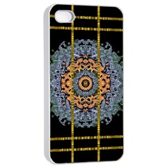 Blue Bloom Golden And Metal Apple Iphone 4/4s Seamless Case (white)
