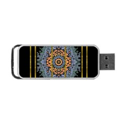Blue Bloom Golden And Metal Portable Usb Flash (one Side)