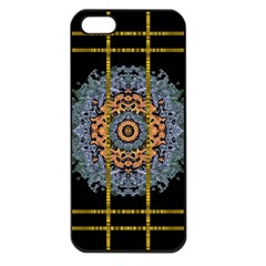 Blue Bloom Golden And Metal Apple Iphone 5 Seamless Case (black)
