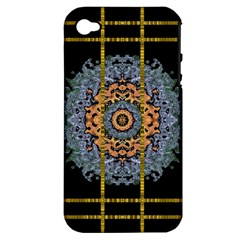 Blue Bloom Golden And Metal Apple Iphone 4/4s Hardshell Case (pc+silicone)