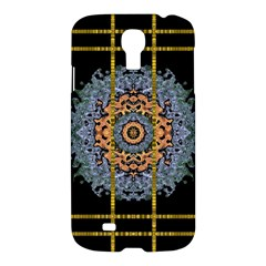 Blue Bloom Golden And Metal Samsung Galaxy S4 I9500/i9505 Hardshell Case