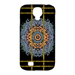 Blue Bloom Golden And Metal Samsung Galaxy S4 Classic Hardshell Case (pc+silicone)