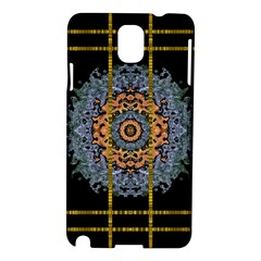 Blue Bloom Golden And Metal Samsung Galaxy Note 3 N9005 Hardshell Case