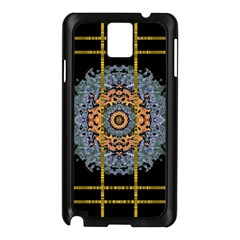 Blue Bloom Golden And Metal Samsung Galaxy Note 3 N9005 Case (black)