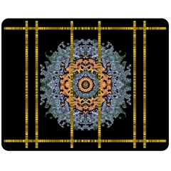 Blue Bloom Golden And Metal Double Sided Fleece Blanket (medium)