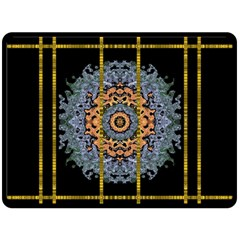 Blue Bloom Golden And Metal Double Sided Fleece Blanket (large)