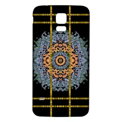 Blue Bloom Golden And Metal Samsung Galaxy S5 Back Case (white)