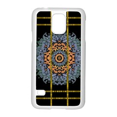 Blue Bloom Golden And Metal Samsung Galaxy S5 Case (white)