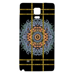 Blue Bloom Golden And Metal Galaxy Note 4 Back Case