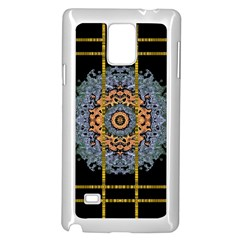 Blue Bloom Golden And Metal Samsung Galaxy Note 4 Case (white)