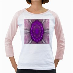 Fantasy Flowers In Harmony  In Lilac Girly Raglans