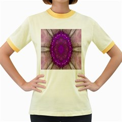 Fantasy Flowers In Harmony  In Lilac Women s Fitted Ringer T Shirts