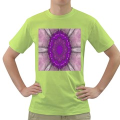 Fantasy Flowers In Harmony  In Lilac Green T Shirt