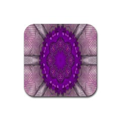 Fantasy Flowers In Harmony  In Lilac Rubber Square Coaster (4 Pack)