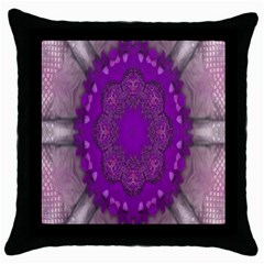 Fantasy Flowers In Harmony  In Lilac Throw Pillow Case (black)