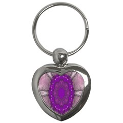 Fantasy Flowers In Harmony  In Lilac Key Chains (heart)