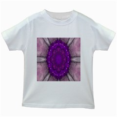 Fantasy Flowers In Harmony  In Lilac Kids White T Shirts