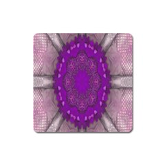 Fantasy Flowers In Harmony  In Lilac Square Magnet