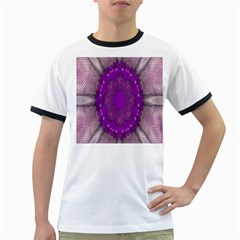 Fantasy Flowers In Harmony  In Lilac Ringer T Shirts