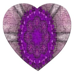 Fantasy Flowers In Harmony  In Lilac Jigsaw Puzzle (heart)