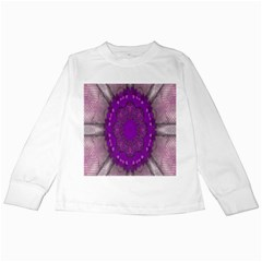 Fantasy Flowers In Harmony  In Lilac Kids Long Sleeve T Shirts