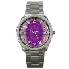 Fantasy Flowers In Harmony  In Lilac Sport Metal Watch
