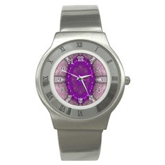 Fantasy Flowers In Harmony  In Lilac Stainless Steel Watch